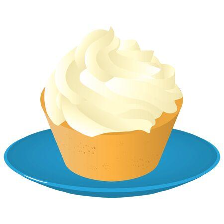 sweet tasty creamy cupcake on plate isolated raster illustration Stock Photo