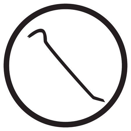 crowbar: icon crowbar black silhouette in circle raster illustration
