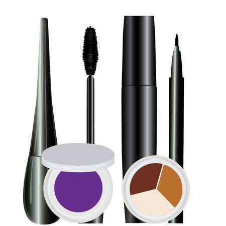 eye cosmetic make-up set black raster illustration