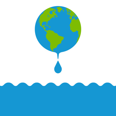 Earth globes with drop of water and water waves. Concept of water resources. Raster illustration