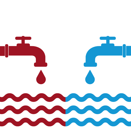 Opened blue and red water faucets with drop and water waves. Flat icon. Cold and hot water. Raster illustration. Stock Photo