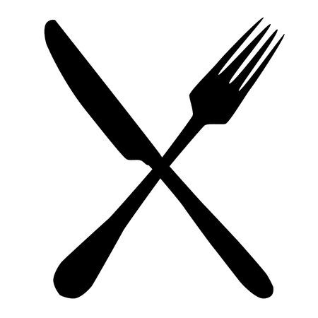 Tenedor y cuchillo cruz silueta conjunto ilustración raster Foto de archivo - 69162830