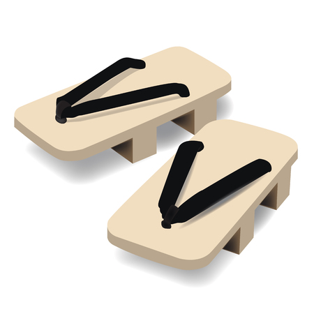 Pair of wooden clog Japanese traditional geta footwear raster illustration