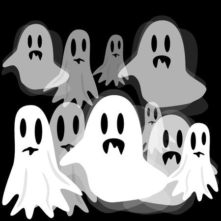 haunt: Raster illustration. Ghosts on black. Set Stock Photo