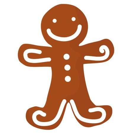 christmas cookie: Gingerbread man decorated white icing. Holiday Christmas cookie in shape of man