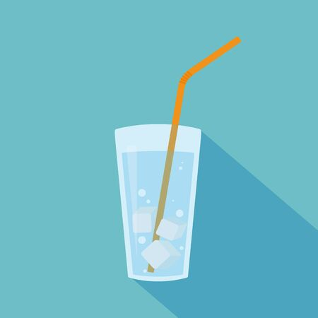 glass water: Glass of water with ice cubes and orange straw. Raster illustration