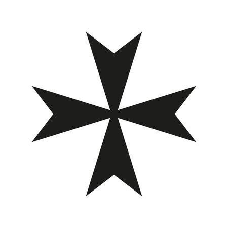 Maltese Cross Icon black silhouette. Ancient Christian sign. Raster illustration.