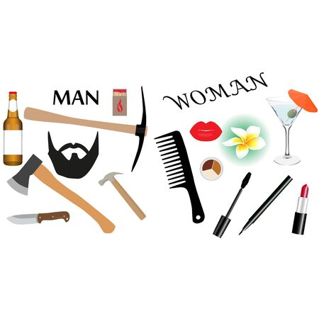 Man and Girl accessories set. Concept of personal accessories. Raster illustration. Stock Photo