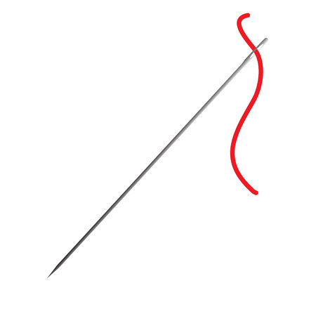 sewing needle: sewing needle with red thread raster illustration