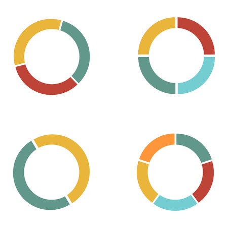 Graph circle set. Pie graph. 4 pie graphs illustration round raster Stockfoto
