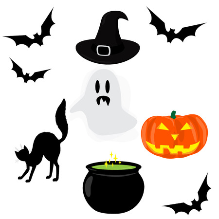 magic cauldron: Halloween icons set. Ghost, bat, cat, cauldron of magic potion, witch hat, pumpkin lantern. Raster illustration Stock Photo