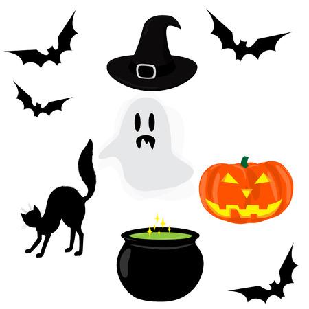 pocima: Iconos de Halloween. Fantasma, palo, gato, caldero de poción mágica, sombrero de bruja, linterna de calabaza. ilustración de la trama
