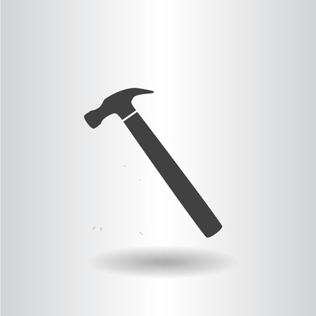 icon silhouette isolated hammer black icon flat raster illustration Stock Photo