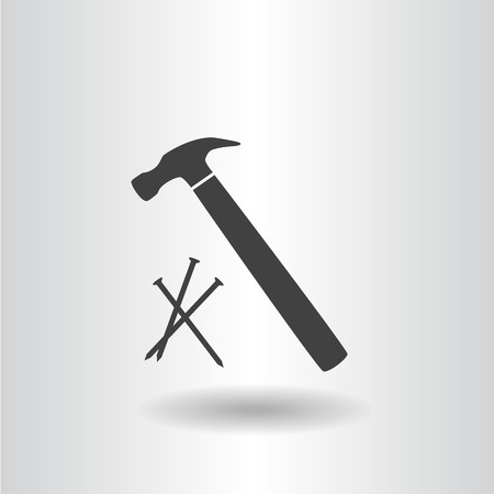 icon silhouette isolated hammer with nails black icon raster illustration