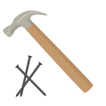 hammer with nails raster illustration