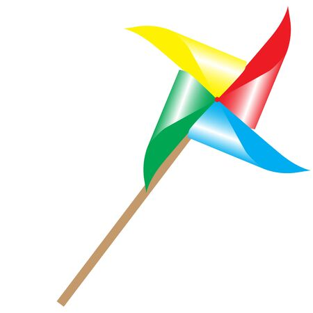 colorful pinwheel windmill fan toy isolated raster illustration