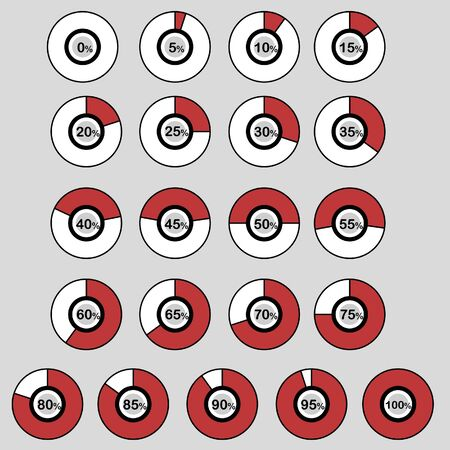 0 to 5: icons template pie graph circle percentage red ball chart 0 5 10 15 20 25 30 35 40 45 50 55 60 65 70 75 80 85 90 95 100 % set illustration round raster