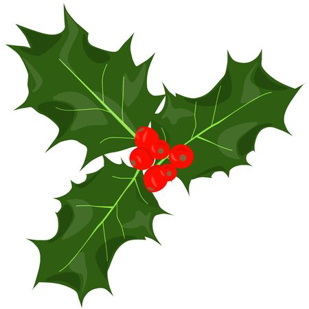 Twig of holly with berry and leaves. Christmas symbol. Raster illustration. Stock Photo