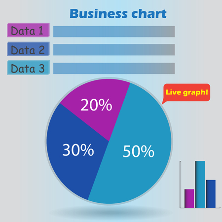 form a circle: business infographic form blank live pie and column graph circle percentage blue violet chart 20 30 50 % set illustration round raster