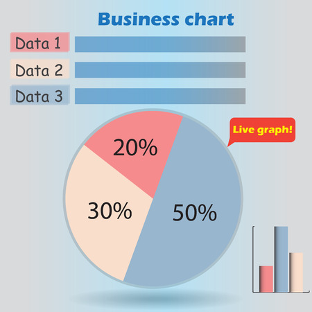 form a circle: business infographic form blank live pie and column graph circle percentage blue pink red 20 30 50 % set illustration round raster Stock Photo