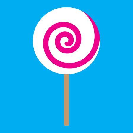 lolipop pink spiral on blue background raster illustration Stock Photo