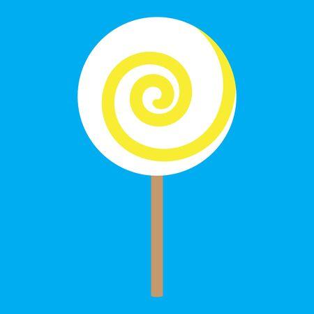 lolipop yellow spiral on blue background raster illustration Stock Photo