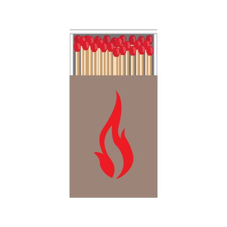matchbox: full matchbox craft with flame with matches raster illustration
