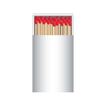matchbox: full matchbox white with matches raster illustration