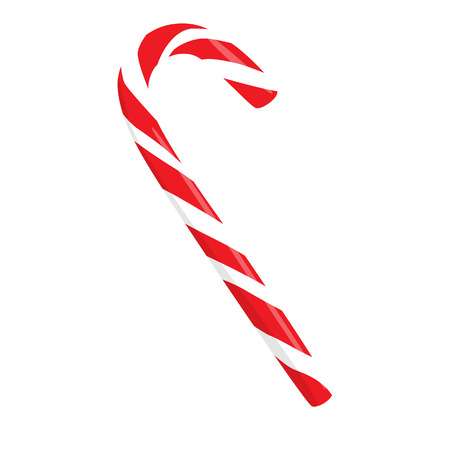 Raster illustration traditional mint lolipop. Christmas red candy.