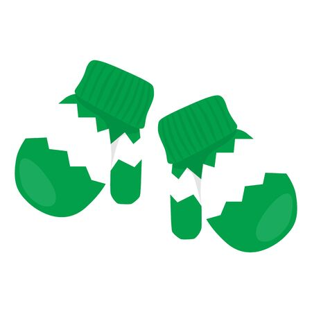 mittens: Raster illustration pair of green mittens with white ornament Stock Photo