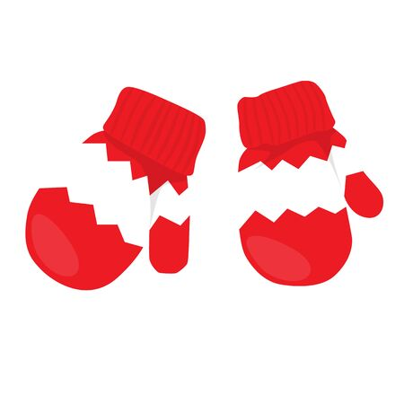 mittens: Raster illustration pair of red mittens.
