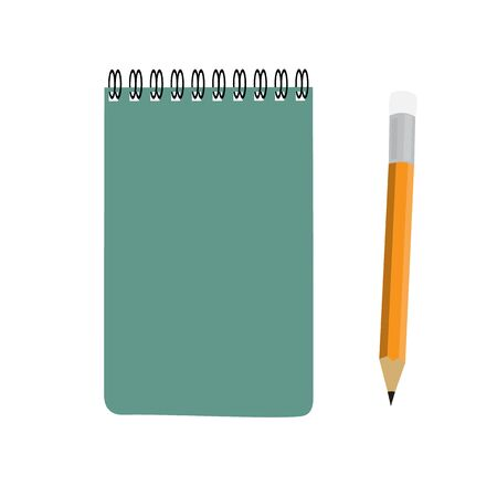 note book: business green note book and pencil set raster illustration