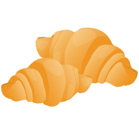 bun: pair of sweet tasty fresh french croissants raster illustration