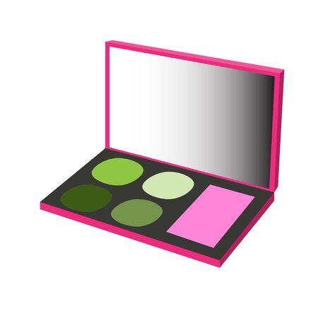 maquillage: makeup palette pink green raster illustration Stock Photo