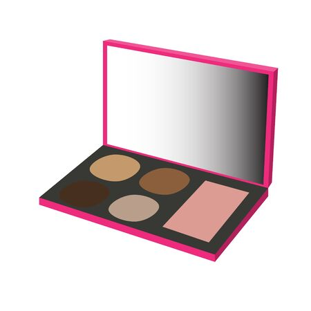 maquillage: makeup palette rose brown raster illustration Stock Photo