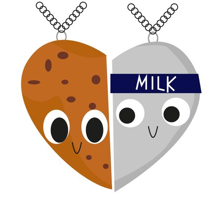 Two-piece Heart Necklace Milk and Cookie. Funny characters. Smile. raster illustration Stock Photo