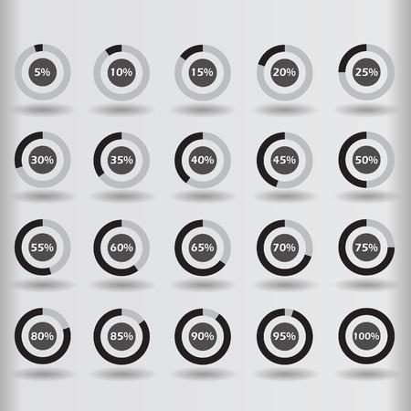 15 to 20: icons template pie graph circle percentage black chart 5 10 15 20 25 30 35 40 45 50 55 60 65 70 75 80 85 90 95 100 % set illustration round raster Stock Photo