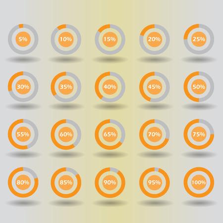 15 to 20: icons template pie graph circle percentage orange chart 5 10 15 20 25 30 35 40 45 50 55 60 65 70 75 80 85 90 95 100 % set illustration round raster Stock Photo