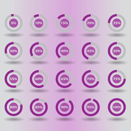 15 to 20: icons template pie graph circle percentage purple chart 5 10 15 20 25 30 35 40 45 50 55 60 65 70 75 80 85 90 95 100 % set illustration round raster
