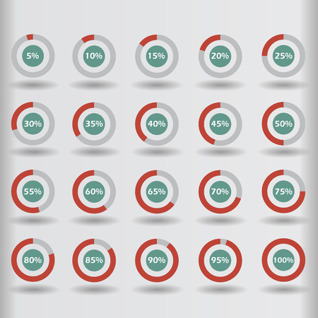 15 to 20: Business infographic icons template pie graph circle percentage red chart 5 10 15 20 25 30 35 40 45 50 55 60 65 70 75 80 85 90 95 100 % set illustration round raster