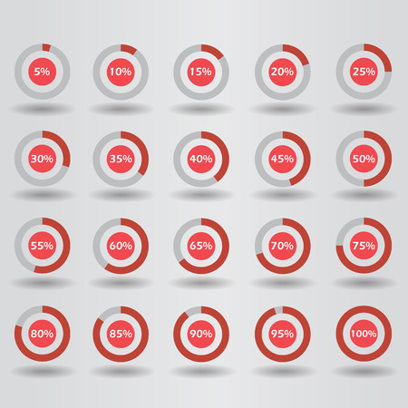 60 65: icons template pie graph circle percentage red chart 5 10 15 20 25 30 35 40 45 50 55 60 65 70 75 80 85 90 95 100 % set illustration round raster Stock Photo
