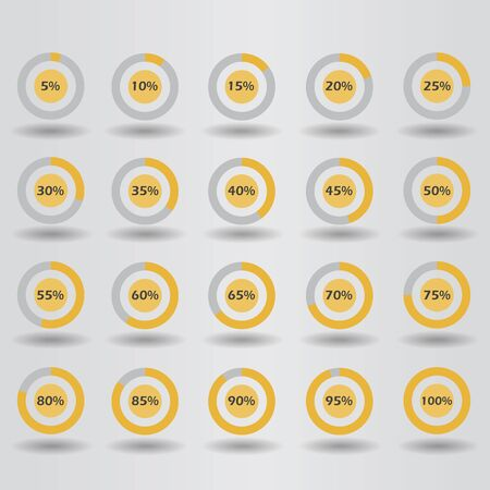80 85: icons template pie graph circle percentage orange chart 5 10 15 20 25 30 35 40 45 50 55 60 65 70 75 80 85 90 95 100 % set illustration round raster Stock Photo