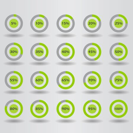 15 to 20: icons template pie graph circle percentage green chart 5 10 15 20 25 30 35 40 45 50 55 60 65 70 75 80 85 90 95 100 % set illustration round raster Stock Photo