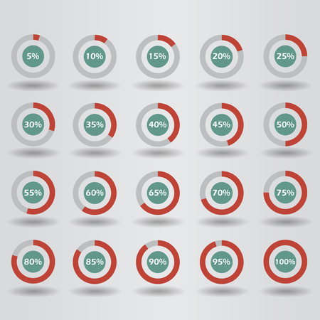 70 75: icons template pie graph circle percentage red chart 5 10 15 20 25 30 35 40 45 50 55 60 65 70 75 80 85 90 95 100 % set illustration round raster Stock Photo
