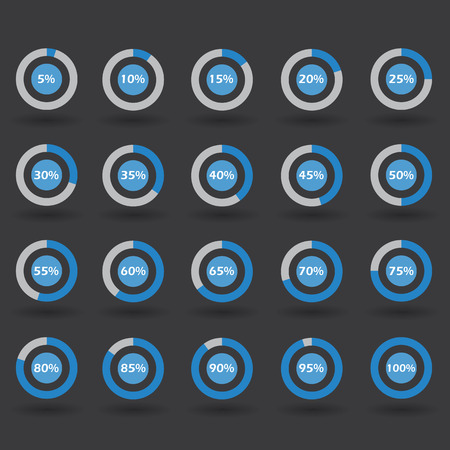 15 to 20: icons template pie graph circle percentage blue chart 5 10 15 20 25 30 35 40 45 50 55 60 65 70 75 80 85 90 95 100 % set illustration round raster