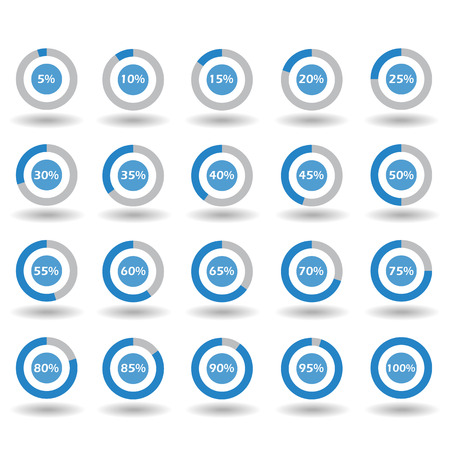 85 90: icons template pie graph circle percentage blue chart 5 10 15 20 25 30 35 40 45 50 55 60 65 70 75 80 85 90 95 100 % set illustration round Raster