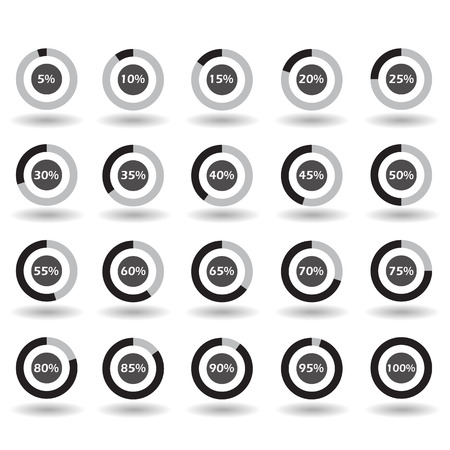 70 75: icons template pie graph circle percentage black chart 5 10 15 20 25 30 35 40 45 50 55 60 65 70 75 80 85 90 95 100 % set illustration round raster Stock Photo