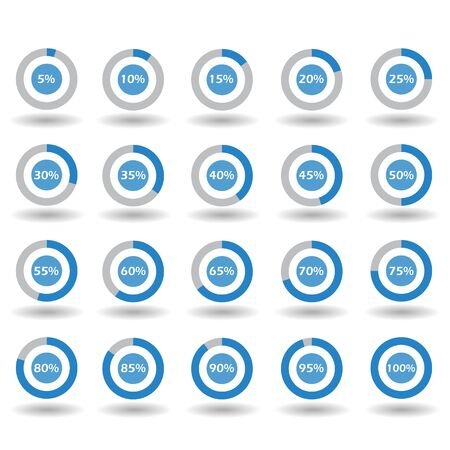 60 65: icons template pie graph circle percentage blue chart 5 10 15 20 25 30 35 40 45 50 55 60 65 70 75 80 85 90 95 100 % set illustration round raster