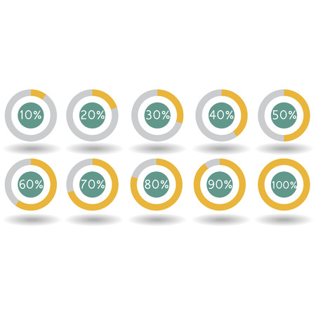 icons pie graph circle percentage yellow chart 10 20 30 40 50 60 70 80 90 100 % set illustration round Raster