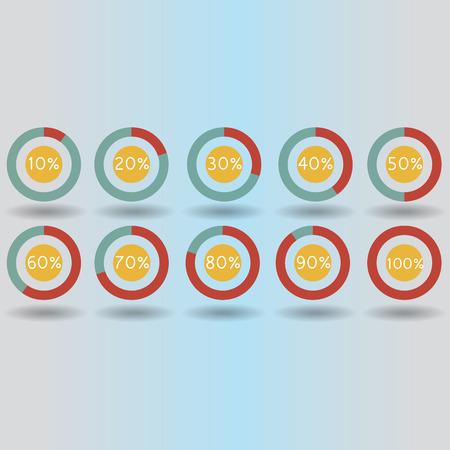 icons pie graph circle percentage red chart 10 20 30 40 50 60 70 80 90 100 % set illustration round raster